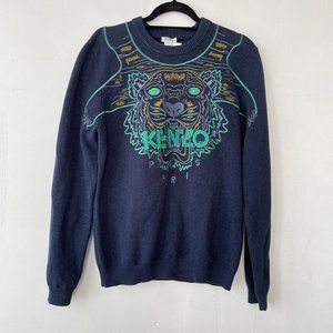 Kenzo Navy Tiger Pelt Claw Embroidered Sweater M